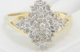 Vintage Two Tone 1.0ctw Round Diamond Cluster Ring in 14k Yellow Gold Size 7.5