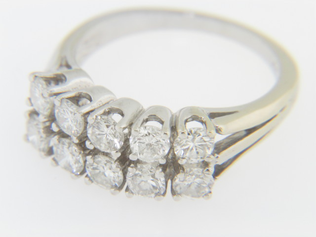 Vintage 2.0ctw Round Diamond Two Row Band Ring in 14k White Gold Size 6