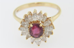 Vintage 1.92ctw Fine Ruby & Diamond Flower Ring in 14k Yellow Gold Size 6.5