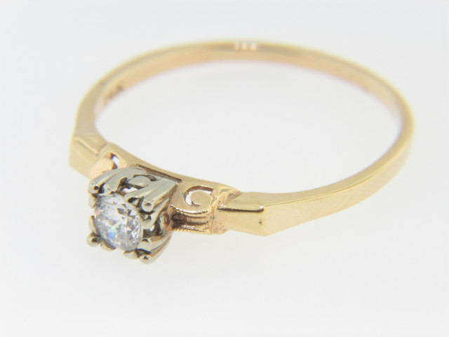 Vintage 0.18ctw Solitaire Round Diamond Engagement Ring in 14k Yellow Gold Size 8.5