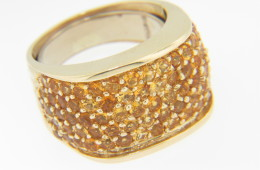 Vintage Art Deco 4.0ctw Citrine Band Ring in 14k Yellow Gold Size 7 With Spring Ring