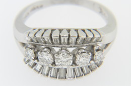 Vintage 1960's Round & Baguette Diamond Ring in Platinum Size 7.25