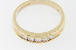 Vintage 0.50ctw Round Diamond Wedding Band Ring in 14k Yellow Gold Size 10.25
