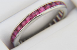 Vintage Antique Fine Channel Set Ruby Band Ring in 14k White Gold Size 5.25