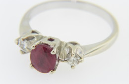 Vintage 1.22ctw Ruby & Diamond Three Stone Ring in 14k White Gold Size 6.25