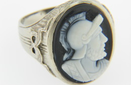 Vintage Very Fine Hand Carved Stone Warrior Cameo Ring in 14k White Gold Size 9