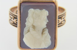 Vintage Hand Carved Shell Cameo Ring in Very Fine 14k Rose Gold Size 10.5