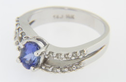 Vintage 1.22ctw Oval Tanzanite & Diamond Wave Ring in 14k White Gold Size 7
