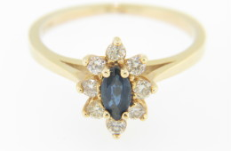 Vintage Marquise Sapphire & Diamond Flower Ring in 14k Yellow Gold Size 6.25