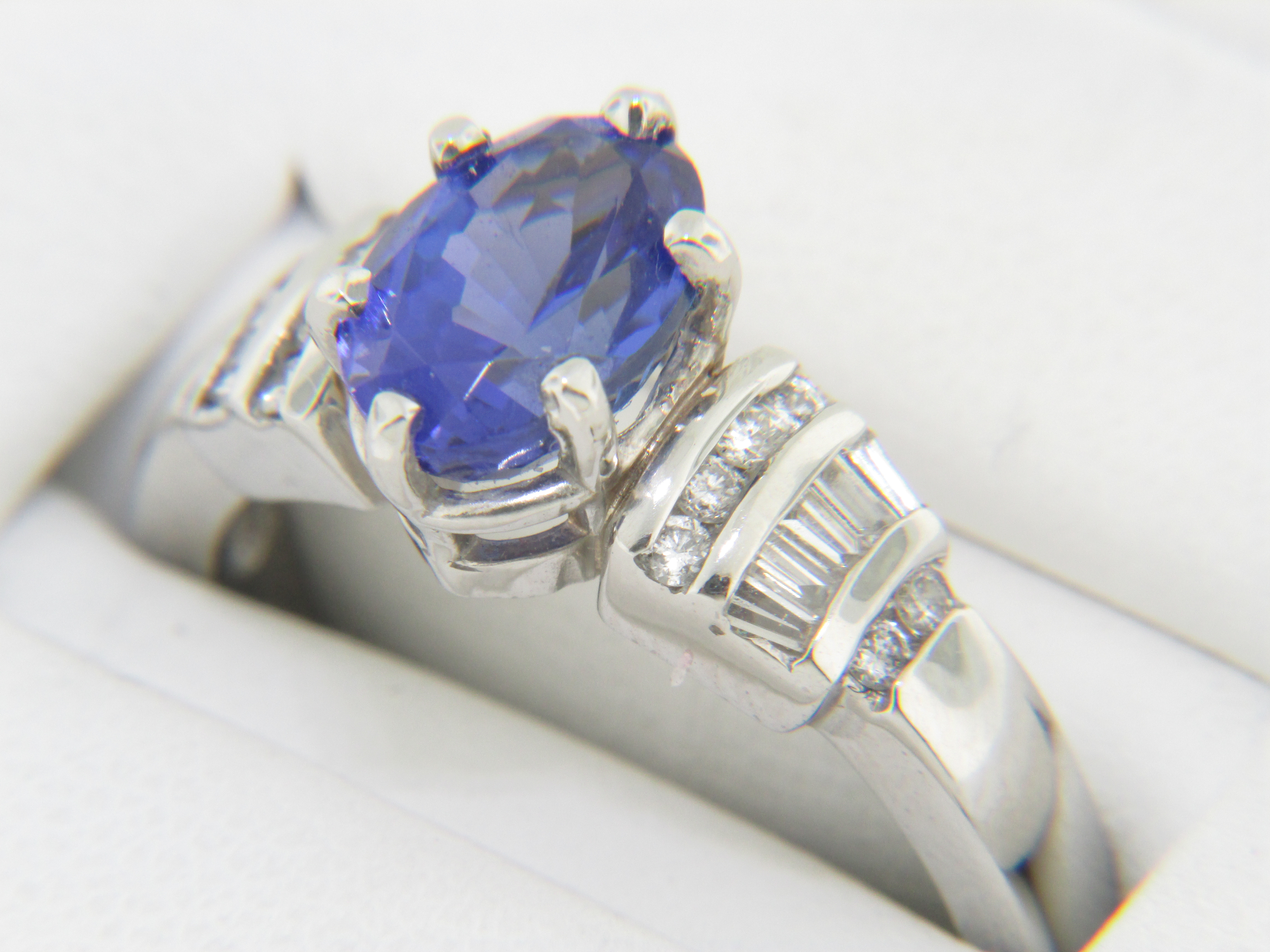 Vintage Oval Tanzanite & Diamond Ring in Very Fine Platinum Size 8
