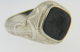 Vintage Black Onyx Warrior Cameo Ring with Fine Detail in 14k White Gold Size 10