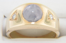 Vintage Art Deco Star Sapphire & Diamond Band Ring in 14k Yellow Gold Size 6