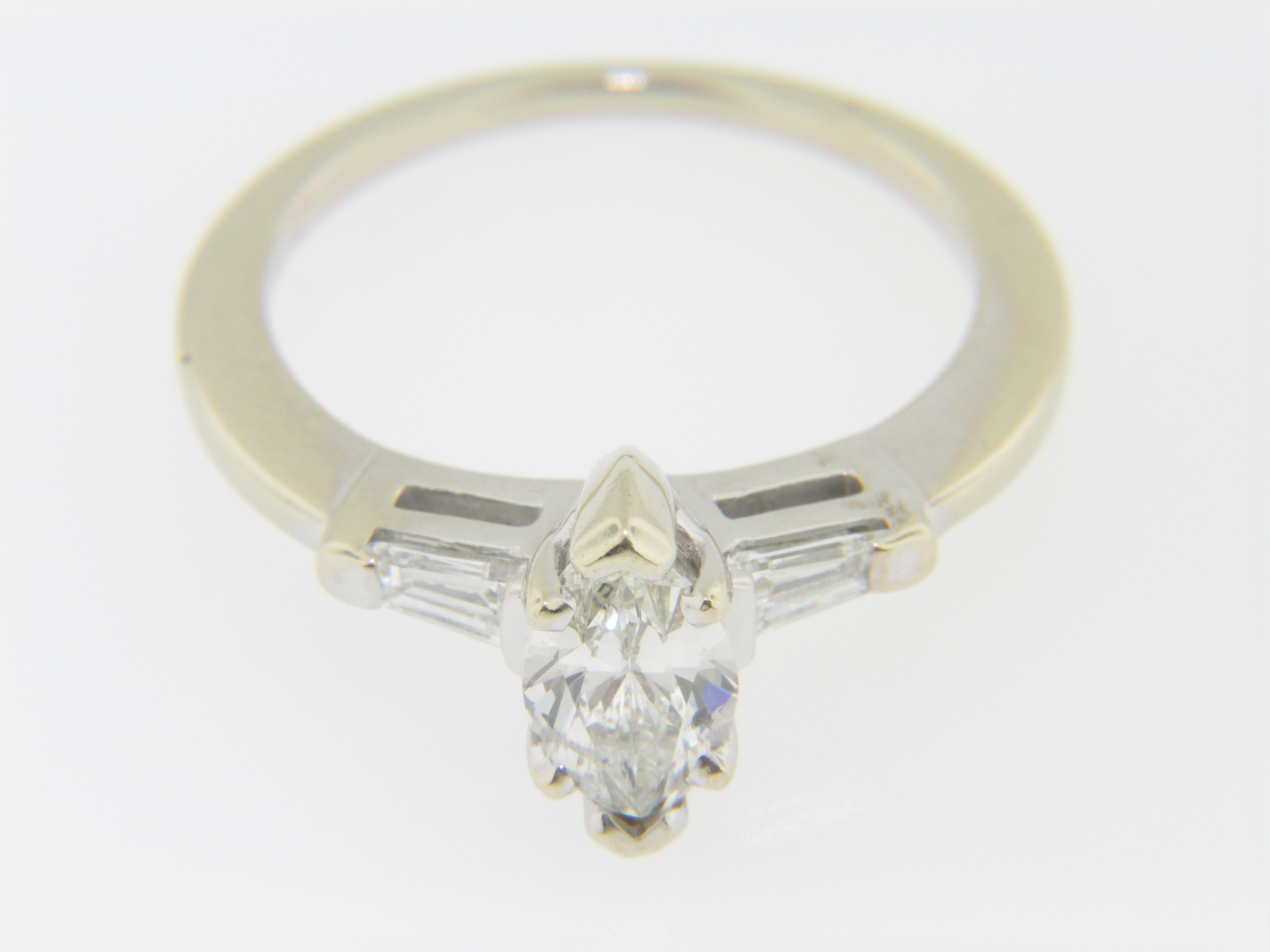 Vintage Marquise & Baguette Diamond Engagement Ring in 14k White Gold Siz