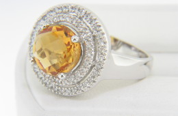 Vintage Round Citrine & Double Diamond Halo Ring in 14k White Gold Size 7
