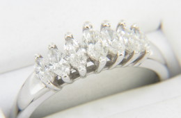 Vintage 1.0ctw Marquise Diamond Band Ring in 14k White Gold Size 9.5