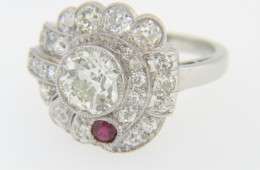 Vintage 1920's Art Deco 2.75ctw Old Cut Diamond & Ruby Ring in Platinum Size 6.25