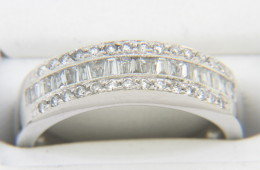 Vintage LeVian Round & Tapered Baguette Diamond Band Ring in 18k White Gold Size 6.75