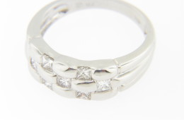 Vintage Handmade 1.0ctw Princess Cut Diamond Band Ring in 18k White Gold Size 6.5