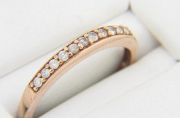 Vintage Round Diamond Band Ring in 10k Rose Gold Size 6.75