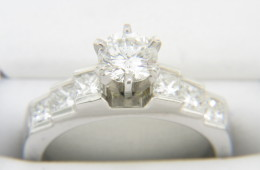 Vintage Round & Princess Cut Diamond Engagement Ring in Fine Platinum Size 5
