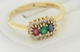 Vintage Ruby/emerald/sapphire & Diamond Halo Ring in 14k Yellow Gold Size 6.5