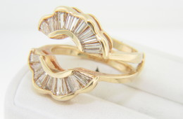 Vintage 1.0ctw Diamond Baguette Flower Design Jacket Ring in 14k Yellow Gold Size 5.5