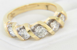 Vintage 1.0ctw Round Diamond Wave Style Band Ring in 14k Yellow Gold Size 6.25