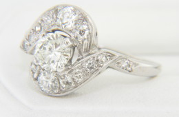 Vintage Art Deco Very Fine Round Diamond Ring in 14k White Gold Size 7.25