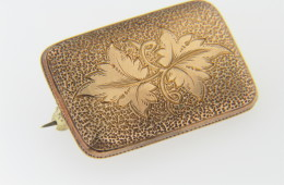 Vintage Antique Very Fine Detail Fall Leaf Design Pin in 10k Yellow Gold