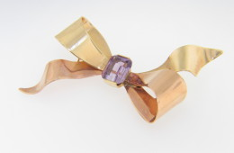 Vintage Two Tone Emerald Cut Amethyst Bow Design Pin in 14k Yellow & Rose Gold