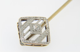 Vintage Solitaire Old Mine Cut Diamond Stick Pin With Platinum Top in 14k Yellow Gold
