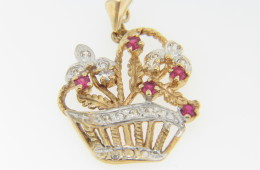 Vintage 1970's Two Tone Ruby & Diamond Basket Pendant in 14k Yellow & White Gold