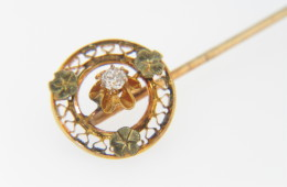 Vintage Solitaire Old Cut Diamond Flower Stick Pin in 14k Yellow & Green Gold