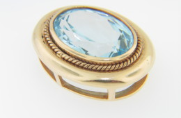 Vintage Antique Oval Blue Topaz Twist Detail Slide Pendant in 14k Yellow Gold