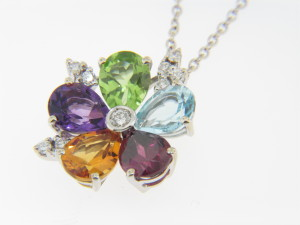 How To Measure Diameter >> Vintage Very Fine Multi-Gemstone Flower Pendant/Necklace in 18k White Gold   Thomas Jewelers