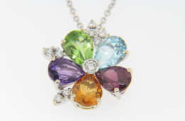 Vintage Very Fine Multi-Gemstone Flower Pendant/Necklace in 18k White Gold
