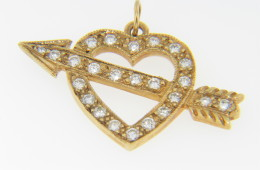Vintage 0.50ctw Diamond Heart & Arrow Cupid Love Charm/Pendant in 14k Yellow Gold