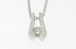 Vintage Very Fine 0.32ct Solitaire Round Diamond Pendant/Necklace in 14k White Gold