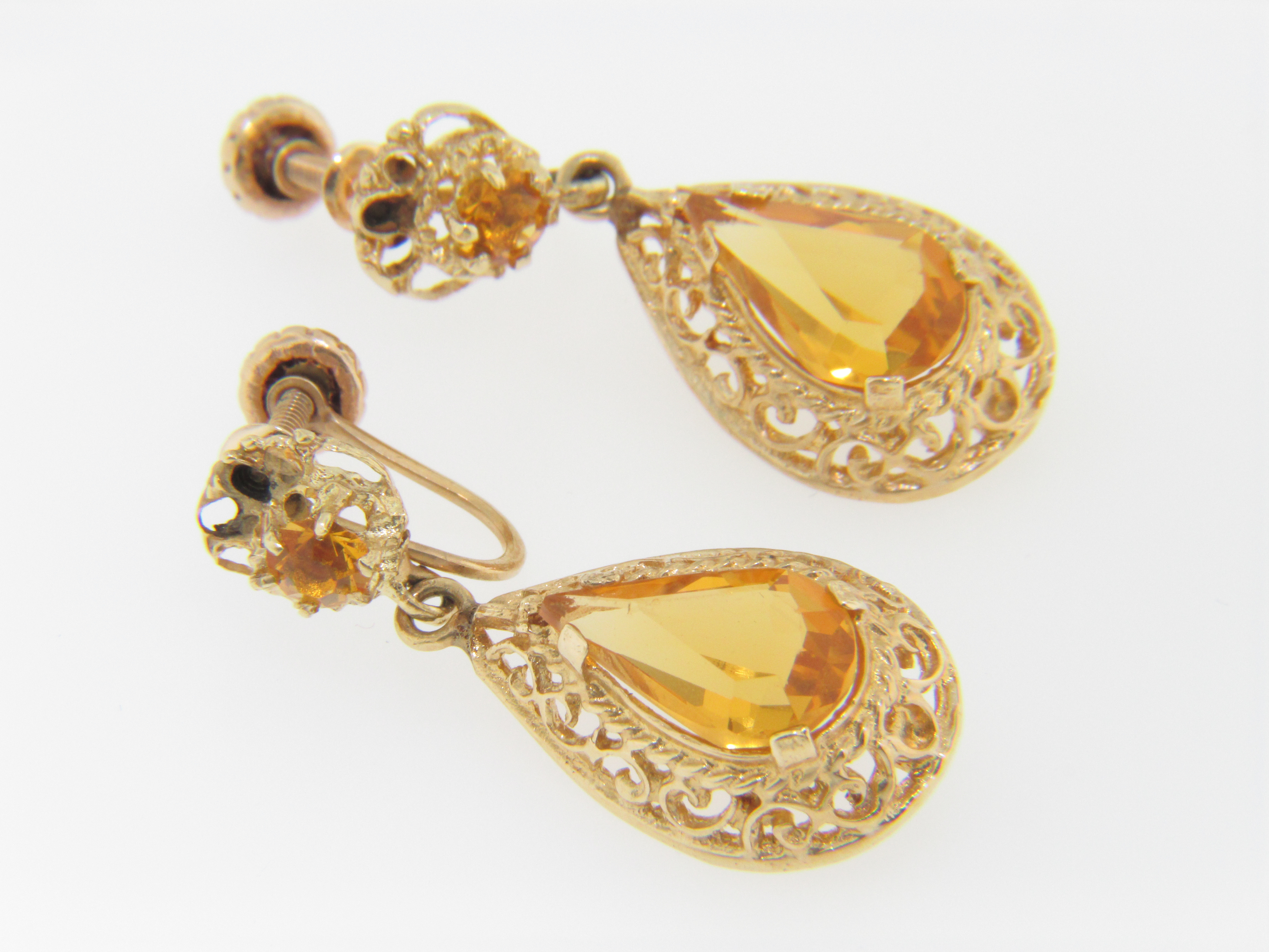 Vintage Very Fine Pear Cut Citrine Dangle Screw Back Non Pierced ...