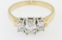 Two Tone 1.07ctw Oval Diamond Three Stone Engagement Ring in 14k Yellow & White Gold