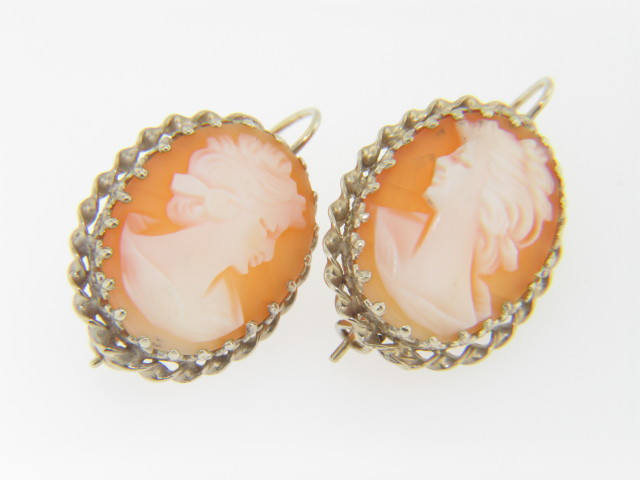 Vintage 1960's Hand Carved Young Maiden Shell Cameo Drop Earrings in 14k White Gold