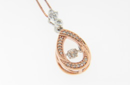 Contemporary 0.19ct Diamond Unique Pear Shape Pendant/Necklace in 14k Rose Gold
