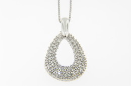 Contemporary 0.25ctw Diamond Pave Pear Shape Pendant/Necklace in 14k White Gold