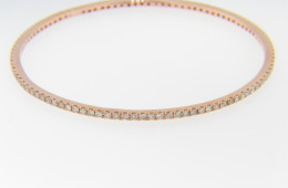 Vintage 2.25ctw Round Diamond Studded Bangle Bracelet in 14k Rose Gold