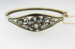 Vintage Opal Flower or Snowflake Design & Black Enamel Bangle Bracelet in 14k Yellow Gold