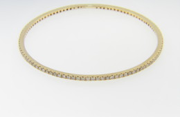 Vintage 2.25ctw Timeless Round Diamond Studded Bangle Bracelet in 14k Yellow Gold