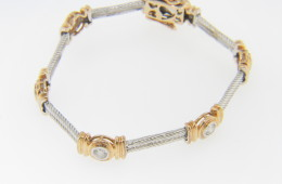 Vintage Two Tone Art Deco Round Diamond Bracelet in 14k White & Yellow Gold 6.75""