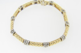 Vintage Two Tone 1.0ctw Round Diamond Braid Design Bracelet in 14k Yellow and White Gold 6.75""