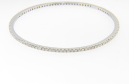 Vintage 2.25ctw Timeless Round Diamond Studded Bangle Bracelet in 14k White Gold