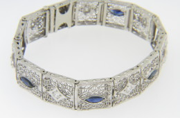 Vintage 2.75cts Marquise Sapphire & Round Diamond Filigree Bracelet in 14k White Gold